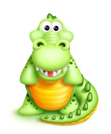 Whimsical Cute Cartoon Alligator Фото со стока