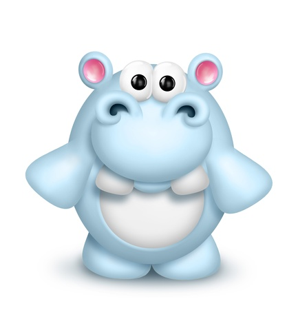 Whimsical Cute Cartoon Hippo Stock Photo