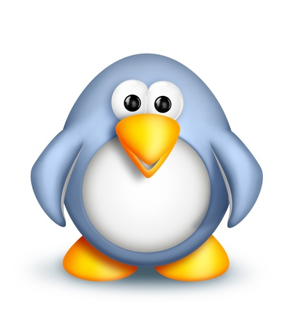Whimsical Cute Cartoon Penguin Stok Fotoğraf