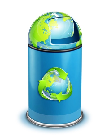 World ECO Recycle Trash Can Stock Photo