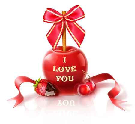Illustrated I Love You Candy Apple with Strawberry and Cherries photo