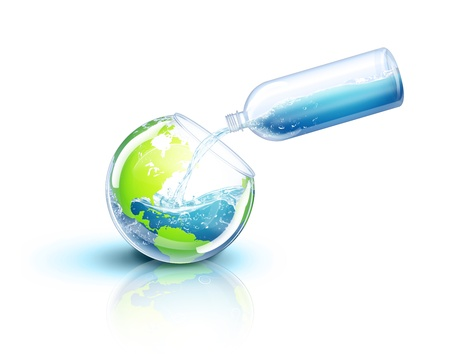 illustrated: Illustrated Earth Being Filled with Water Stock Photo