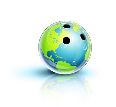 Illustrated Planet Earth Bowling Ball photo