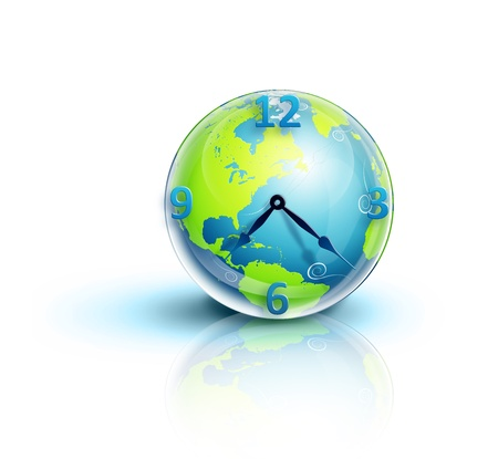 illustrated: Illustrated Planet Earth Clock Stock Photo