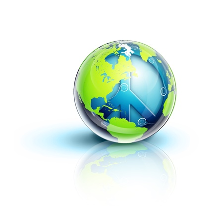 illustrated: Illustrated Planet Earth Peace Symbol Stock Photo