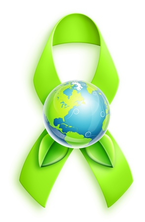 illustrated: Illustrated Planet Earth with Green Ribbon Stock Photo