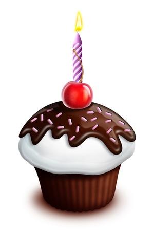 Geïllustreerde Verjaardag Cupcake met Kers en Kaars
