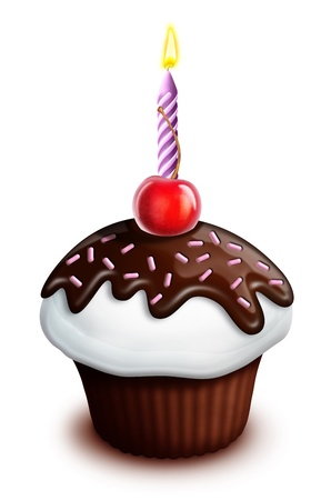 cupcake illustration: Illustrated Birthday Cupcake with Cherry and Candle