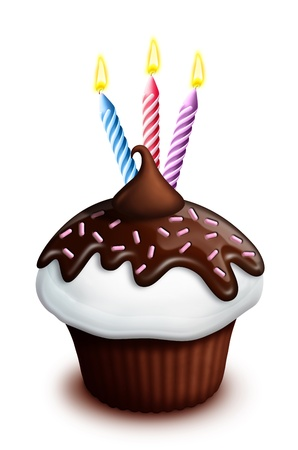 illustrated: Illustrated Birthday Cupcake with Chocolate and Candles