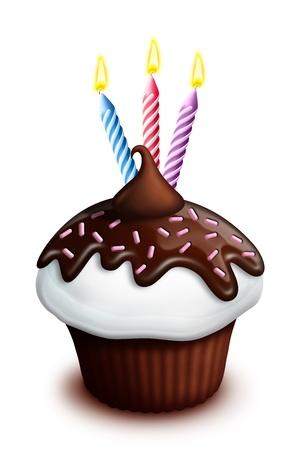 Illustrato Cupcake compleanno con cioccolato e candele Archivio Fotografico - 15806131