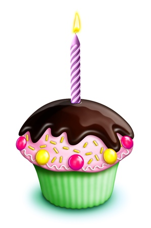 illustrated: Illustrated Birthday Cupcake with Candies and Candle