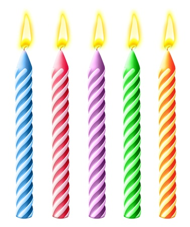 illustrated: Illustrated Burning Birthday Candles Stock Photo
