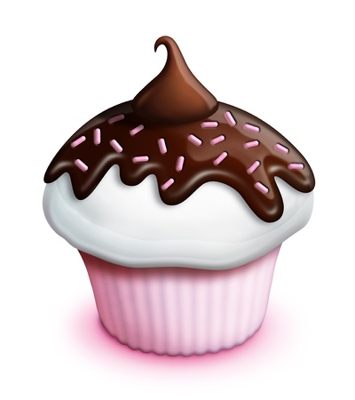 cupcake illustration: Illustrated Strawberry Cupcake with Chocolate Icing and Kiss
