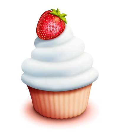 Illustrated Cupcake with Whipped Cream and Strawberry photo