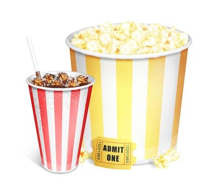 Illustrato Secchio Popcorn e soda Archivio Fotografico - 15830211