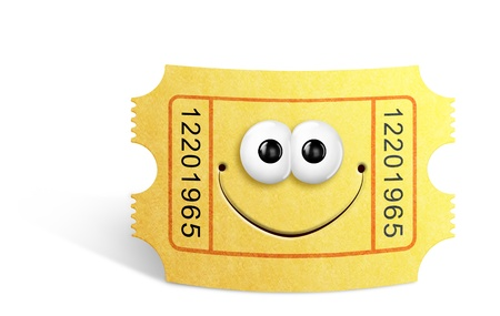Whimsical Cute Cartoon Movie Ticket Stock Photo