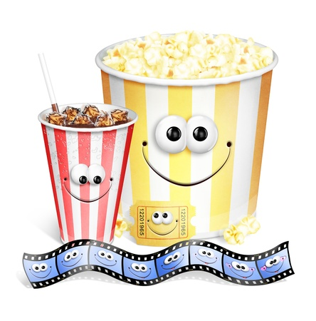 Whimsical Cute Cartoon Popcorn, Soda Movie Ticket and Film Strip Stock Photo
