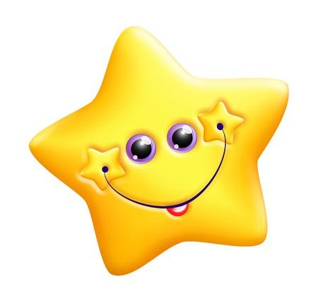 estrella caricatura: Caprichosa estrella de Kawaii Cute