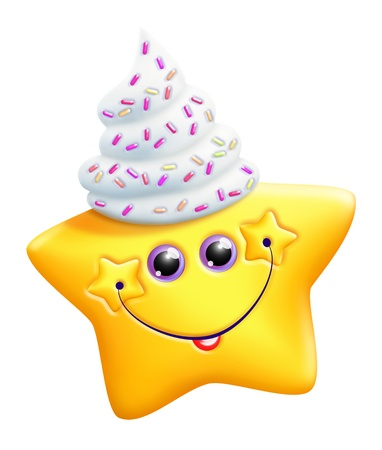 whipped: Whimsical Kawaii Cute Cartoon Star with Whipped Cream Hat