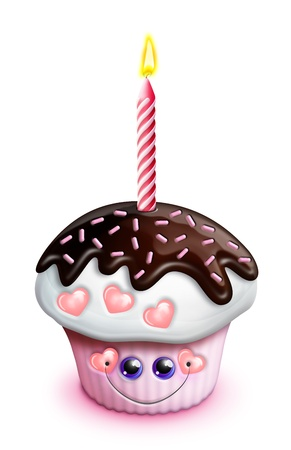 Scherzoso Cupcake Kawaii Cute Cartoon con spruzza Archivio Fotografico - 15873759