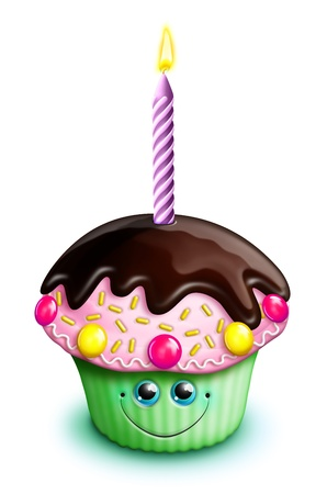 candle: Whimsical Kawaii Cute Cartoon Birthday Cupcake with Candle Stock Photo