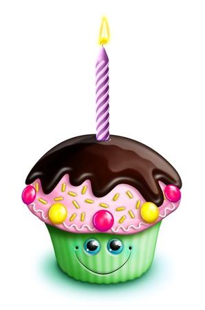cupcake illustration: Whimsical Kawaii Cute Cartoon Birthday Cupcake with Candle Stock Photo