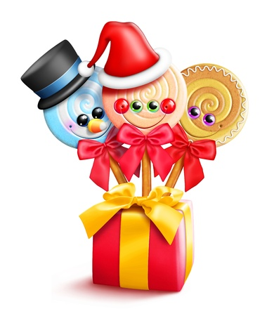 lolly pop: Kawaii Whimsical Cute Cartoon Christmas Lollipops