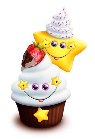 Whimsical Kawaii Cute Cartoon Cupcake with Star