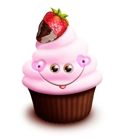 Scherzoso Cupcake Kawaii Cute Cartoon con fragola Archivio Fotografico - 15873748