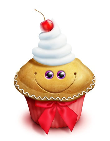 Whimsical Kawaii Cute Gingerbread Cupcake Cartoon Stock Photo
