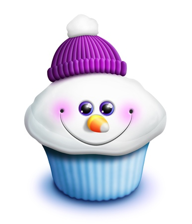 Whimsical Kawaii Cute Snowman Cupcake Cartoon photo