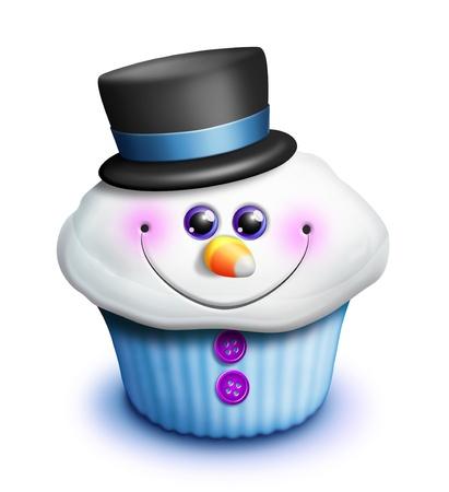 Whimsical Kawaii Cute Snowman Cupcake Cartoon