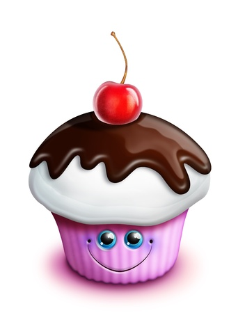 Scherzoso Cupcake Kawaii Cute Cartoon con Cherry Archivio Fotografico - 15873752