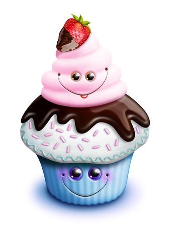 Whimsical Kawaii Cute Cartoon Cupcake with Strawberry Archivio Fotografico