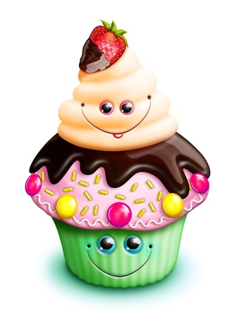 Whimsical Kawaii Cute Cartoon Cupcake with Strawberry photo