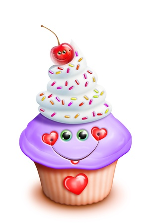 Whimsical Kawaii Cute Cartoon Cupcake with Cherry