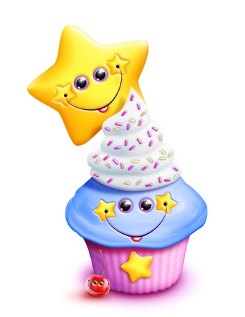 Whimsical Kawaii Cute Cartoon Cupcake with Star
