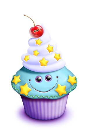 Whimsical Kawaii Cute Cartoon Cupcake with Cherry
