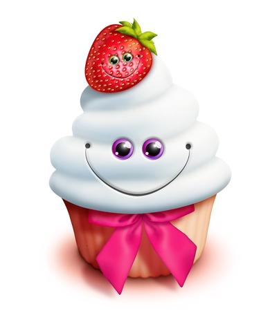 Whimsical Kawaii Cute Cartoon Cupcake met aardbei Stockfoto