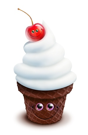 Whimsical Kawaii Cute Cartoon Ice Cream Cone with Cherry Stock Photo
