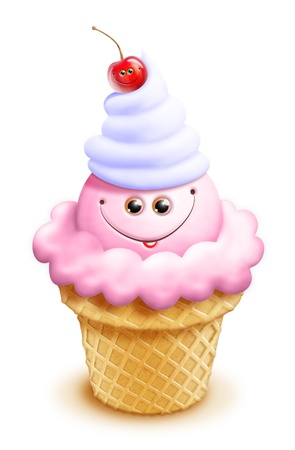 whimsical: Kawaii Whimsical Cute Cartoon Ice Cream Cone with Cherry
