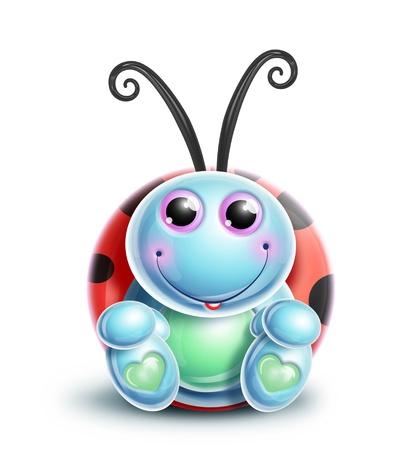 catarina caricatura: Kawaii Ladybug caprichoso lindo de la historieta