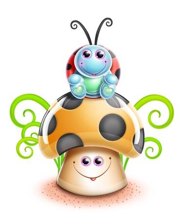cartoon ladybug: Kawaii Whimsical Cute Cartoon Ladybug on Mushroom