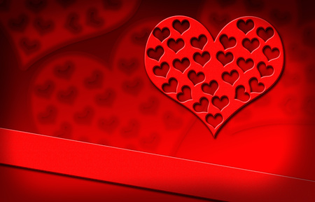 Red heart on red background Valentines day, drawing Stock Photo