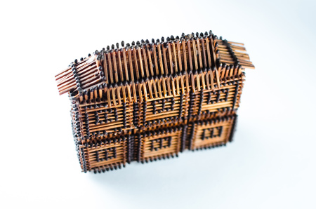 the house of matches on a white isolate, top view of the horizontal frame