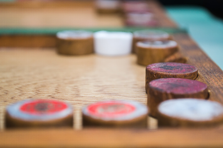 The game of backgammon, close shot, close-up, one of backgammon