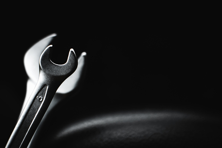 spanner chrome plated for a dark, almost black background