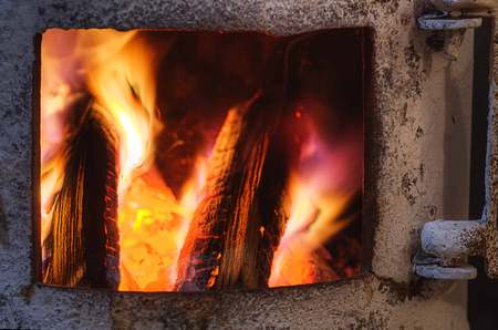 woodburner: Stove stove, Russian, in her wood and fire Stock Photo