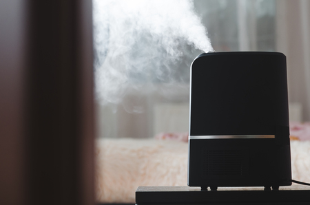 The steam from the humidifier night in a child's bedroom, a lot of volume pair