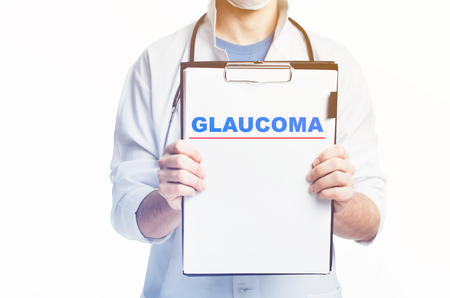 Doctor with a clipboard, blank template written diagnosis of GLAUCOMA there is empty space